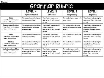 {Grades 1 - 6} Grammar Progress Maps & Rubrics