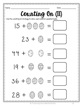 {Grades 1 and 2} No Prep Easter Math Packet