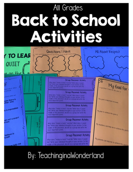 {Grades 1 - 6} Back to School Activity Packet