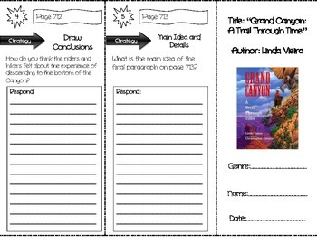 """""""Grand Canyon: A Trail Through Time"""" Comprehension Trifold (Storytown Lesson 27)"""
