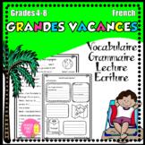 """""""Grandes vacances"""" fiches d'activités-vocabulaire, grammaire, lecture, écriture"""