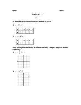 """""""Graph y=ax2 + c"""" Test (PARCC REVIEW)"""