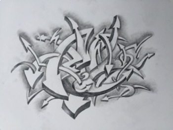 """""""Graphiti Arrows"""" a study in value and contrast in pencil"""