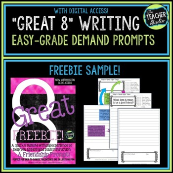 """Great Eight"" Quick Demand Prompt Assessment FREEBIE:  A Friendship Prompt"