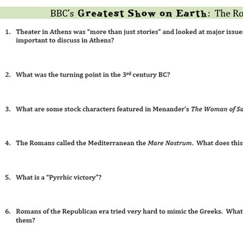 """""""Greatest Show on Earth: the Romans"""" Viewing Guide"""