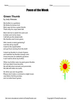 """""""Green Thumb""""  A Poem of the Week original poetry by Jody Weissler"""