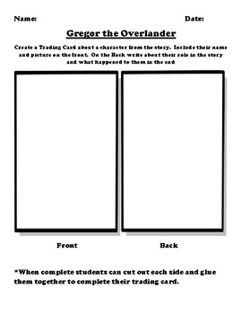 """""""Gregor the Overlander"""" Trading Card Worksheet"""