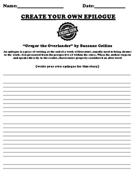 """Gregor the Overlander"" by Suzanne Collins Epilogue Worksheet"