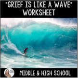 """""""Grief is like a Wave""""- Group Counseling Worksheet for Middle & High School"""