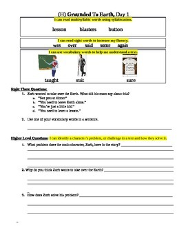 """Grounded to Earth"" Fluency Sheet, Reading A-Z Level H"