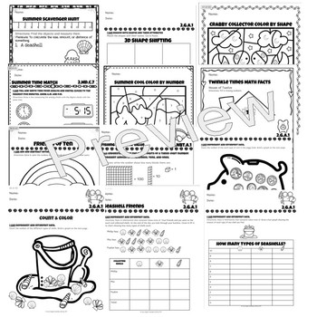 (3 Day Freebie) Surfin' into Second Grade Common Core Mathematics Worksheets