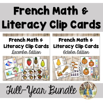 {Bundle!} - French Kindergarten Math and Literacy Clip Card Centers