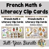 {Bundle!} - French Kindergarten Math and Literacy Clip Car