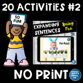 **No Print 20 Fun Speech and Language Activities for Speech Therapy 2
