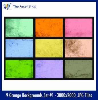 'Grunge Backgrounds' Set #1 (Digital Clip Art)