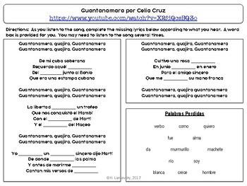 """Guantanamera"" and Nature Vocabulary & Cuban Culture"