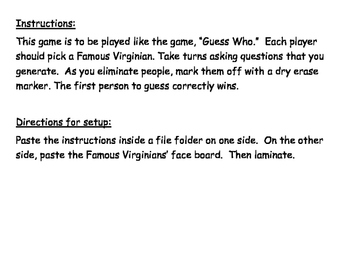 """""""Guess Who"""" Famous Virginians File Folder Game"""