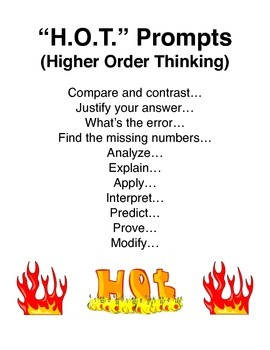 """H.O.T."" Prompts (Higher Order Thinking) sign"