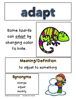 Reading Wonders Companion Grade 2 Vocabulary Posters Unit 2