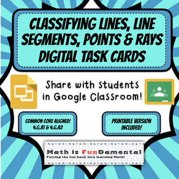 {HALF OFF} Classifying Lines, Line Segments, Rays, and Points Digital Task Cards