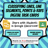 Classifying Lines, Line Segments, Rays, and Points Digital Task Cards