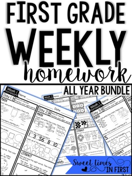 First Grade Homework EDITABLE YEAR LONG BUNDLE