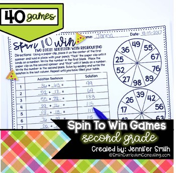 Second Grade Spin to Win Games - 40 Spinner Centers for Math