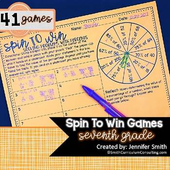 Seventh Grade Spin to Win Games - 41 Spinner Centers for Math Workshop