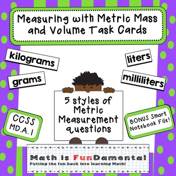 4th Grade Measuring w/ Metric Mass and Volume Task Cards -