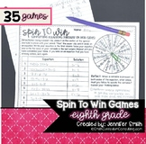 Eighth Grade Spin to Win Games - 35 Spinner Centers for Ma