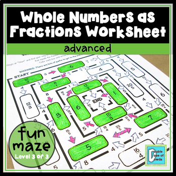 *HALF-PRICE FOR 24 HOURS* Whole Numbers as Fractions Worksheet - Advanced