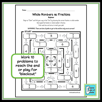 Whole Numbers as Fractions Worksheet Bundle