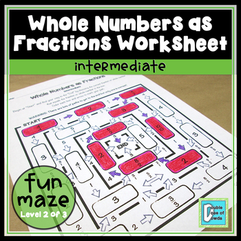 Whole Numbers as Fractions Worksheet - Intermediate