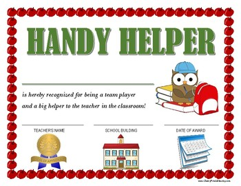 """HANDY HELPER AWARD"" for Primary School Kids!  CLASSROOM AWARD SERIES"