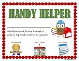"""HANDY HELPER AWARD"" for Primary School Kids!  CLASSROOM A"
