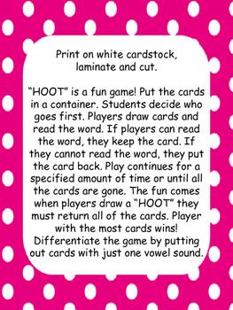 """HOOT"" CVC Word Game"