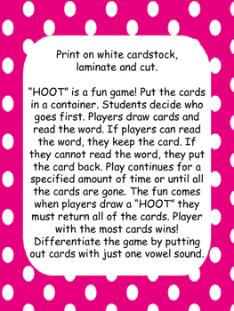 """HOOT"" Fry First 100 Words Game"