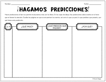 """¡Hagamos Predicciones!"" Double-Sided Spanish Organizer fo"