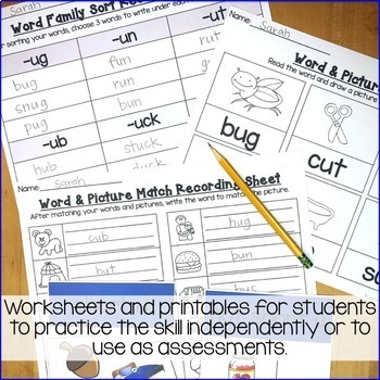 Short u Word Work Activities-Sorts and Worksheets