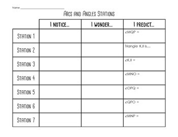 Arc and Angle Relationship Stations