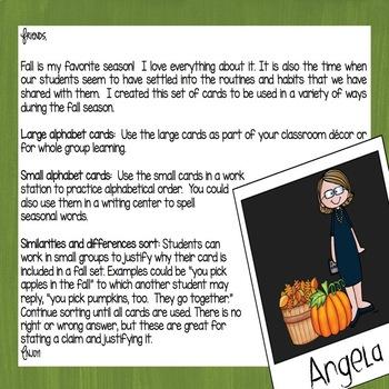 Autumn Fall Alphabet and Sort (Polaroid Style)