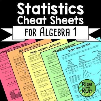 Statistics Cheat Sheets for Algebra 1