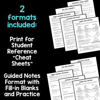 Statistics Cheat Sheets for Algebra 1 Distance Learning