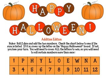"""Halloween Addition Challenge"": A FREE Addition Game to Build Fluency"