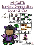 (Halloween Theme) Number Recognition - Count and Clip