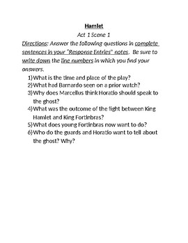 """""""Hamlet"""" Study Guide Questions"""