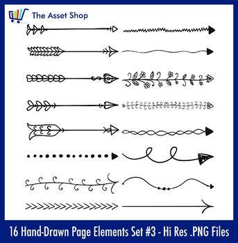 'Hand-Drawn Page Elements' Set #1 - Arrows (Digital Clip Art)