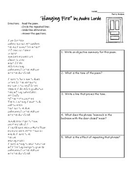 """Hanging Fire"" by Audre Lorde Poem Analysis Worksheet"