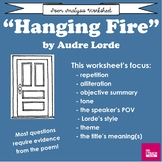 """""""Hanging Fire"""" by Audre Lorde Poem Analysis Worksheet"""