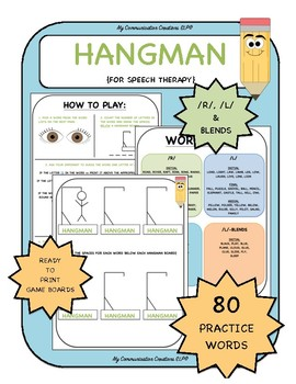 {Hangman for Speech Therapy} R, L, and Blends
